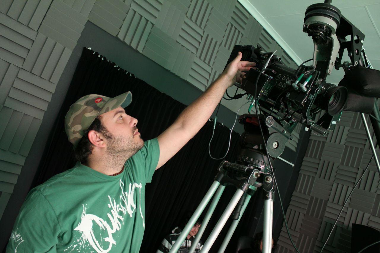 Nick on set...
