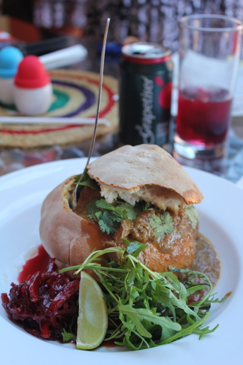 Anyone visiting Hoedspruit MUST stop by Madhams! This is a photo of the Bunny Chow... yummy-yum!