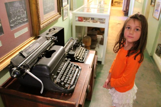 Morgan was stunned to know that I learned to type on typewriters similar to these... (Sheesh! Am I THAT old??)