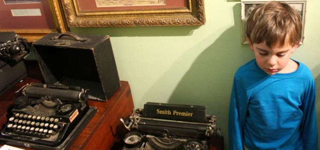 Joah wasn't particularly enamoured with the typewriters...