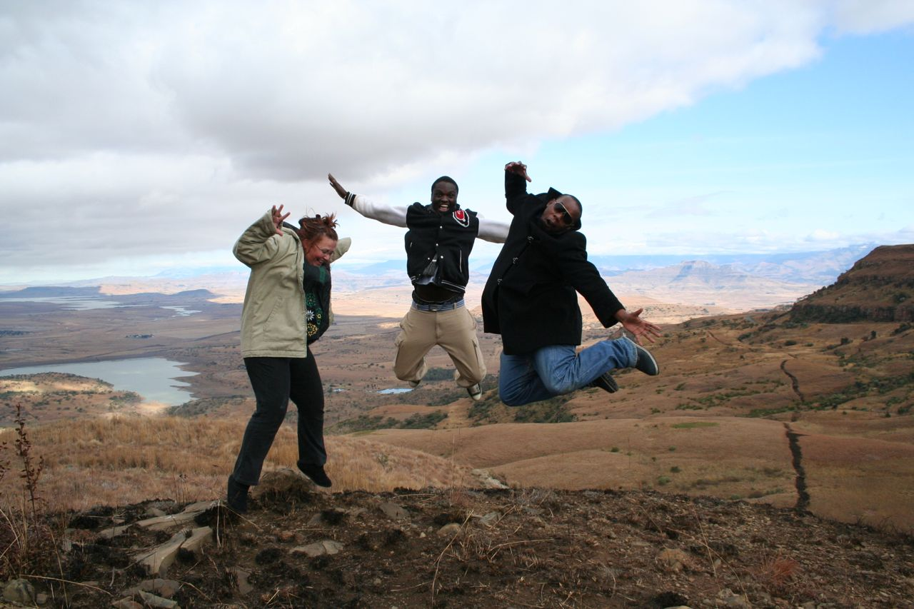 This is me doing a happy-jump with my friends Kali and Refilwe... (clearly not too skilled in the jumping-department!).