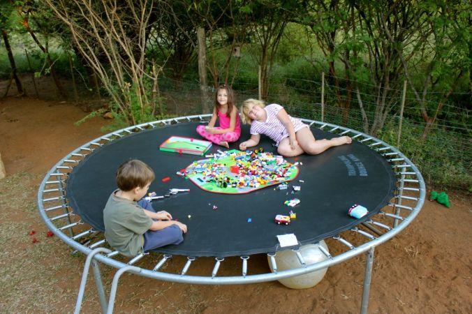 Lego on cousin Kyra's trampoline...