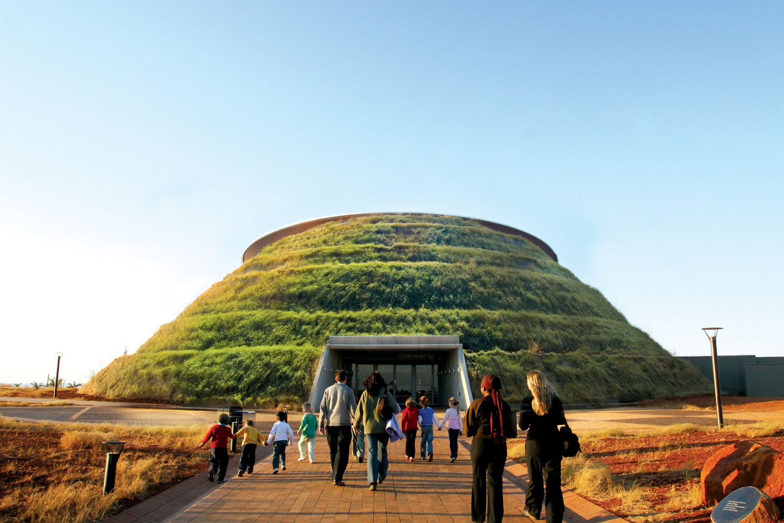 Maropeng: the tour - starting with an underground river-ride... starts under this mound.