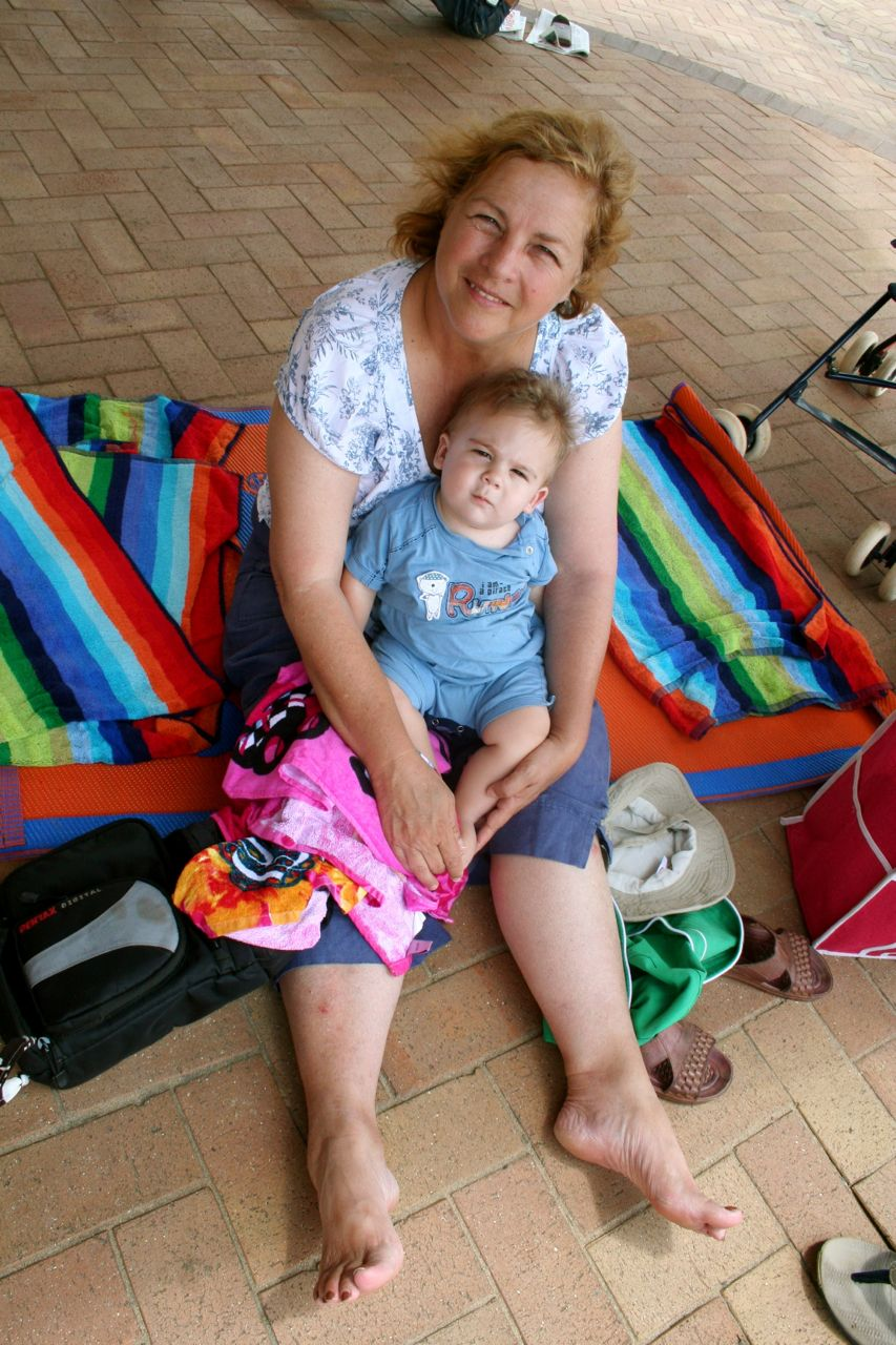 Mom with Joah (this was taken a couple of years ago at the beach in Margate).