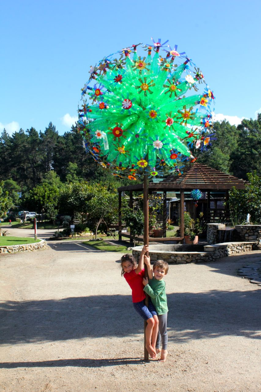 tree of recycled bottles
