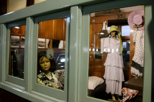 Mannequin mother and daughter in their private train compartment...