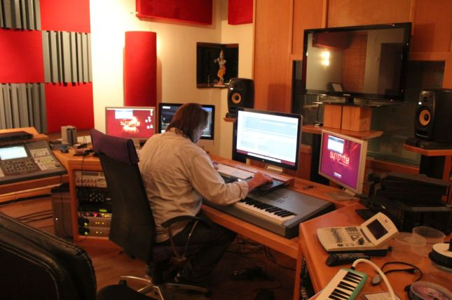 Nick Sakellarides working hard in his studio...