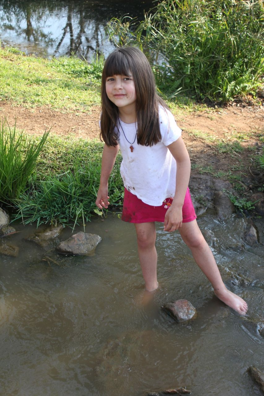 Morgan made a beeline for the mud and the stream...