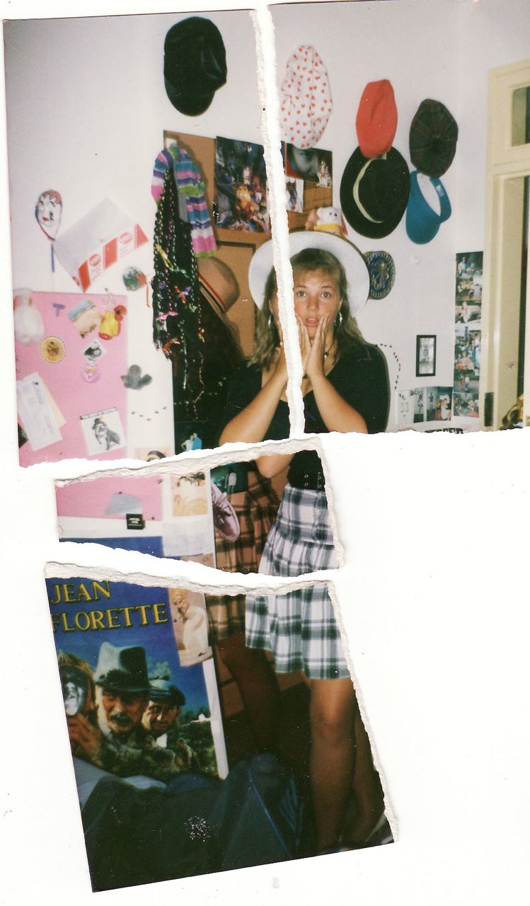 Here's a typical, posed teenage-style photo of me (which I later tore up because I loathed it)... but, behind me, you can catch a glimpse of my hat display on my bedroom wall. I was about 14 or 16 at the time...