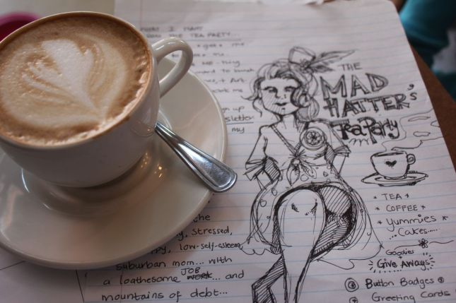 Sketching ideas for Mad Hatster's Coffee Cabaret... (at first it was going to be Tea-Party... but I changed my mind)...