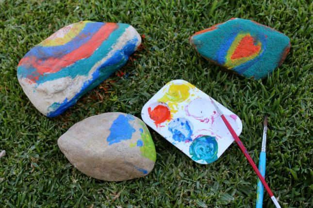 This was when we were in the Karoo for 6 weeks... Morgan and Joah decided to collect rocks and pebbles from the nearby stream... and to paint them too.