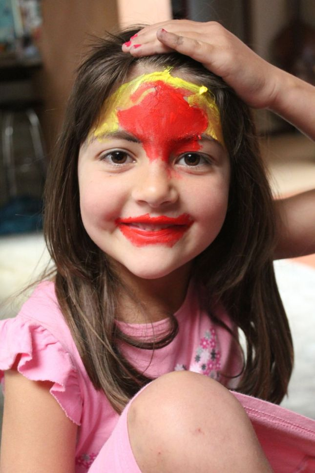 "Morgan wanted to experiment with ""Paint Make-Up""... (water-based paints, of course... easy to wash off)."