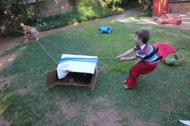 What happens if you take a garden, an old box and a hosepipe... and add 3 kids? You get a fun game that lasts for hours!
