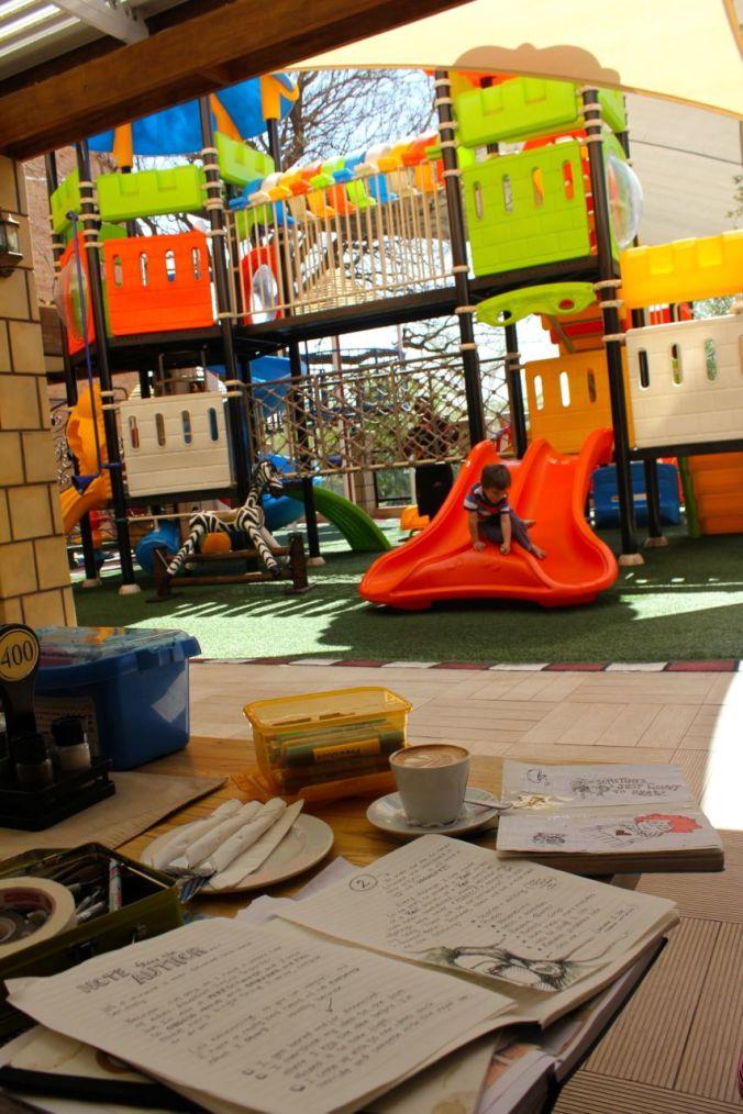 My little work nest at Pappachinos...