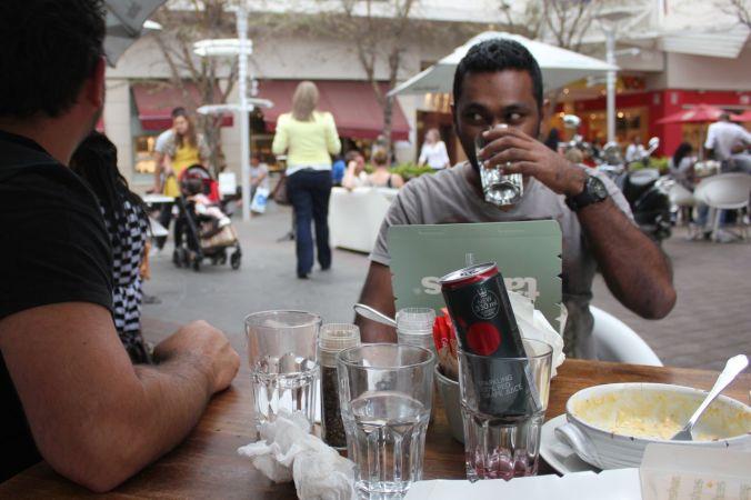 Prabu & Nick at Tashas in Rosebank...
