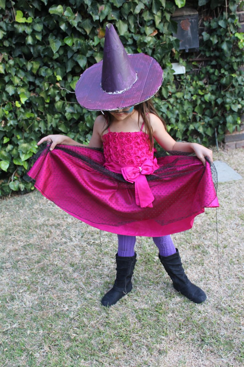 """Morgan's """"Witch Outfit"""". She says that if we had Trick-or-Treating (here)... then this is what she'd wear."""