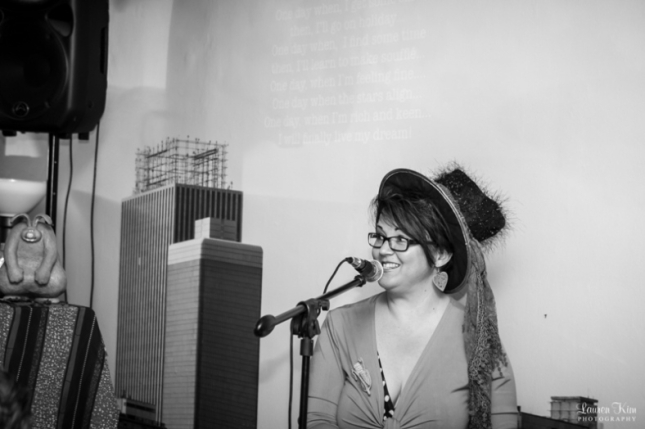 Lauren Kim took this photo of me at the Mad Hatster's Coffee Cabaret on Friday...