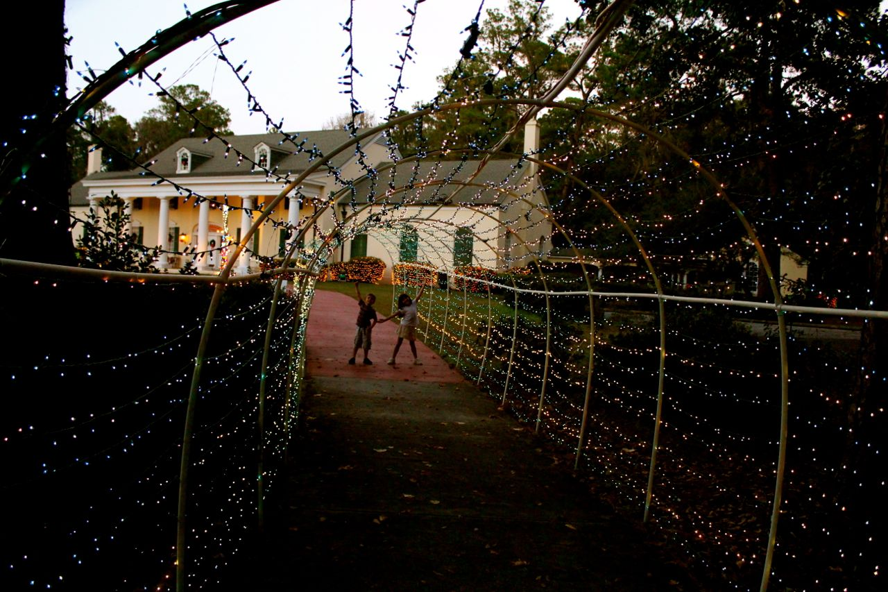 A teeny-tiny taster of the lights (in the back, you can see the Stephen Foster museum)...
