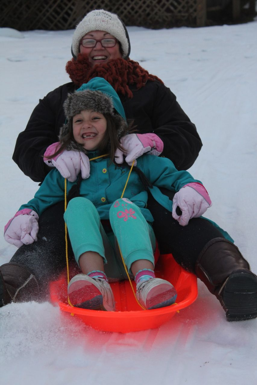 My turn to sled with Morgan...