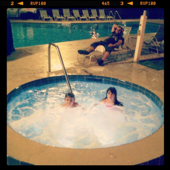 Jacuzzi fun at the roadside motel...