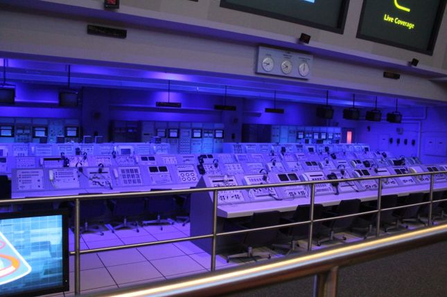 These are the original Mission Control consoles (where they re-created the Saturn launch scene for us)...