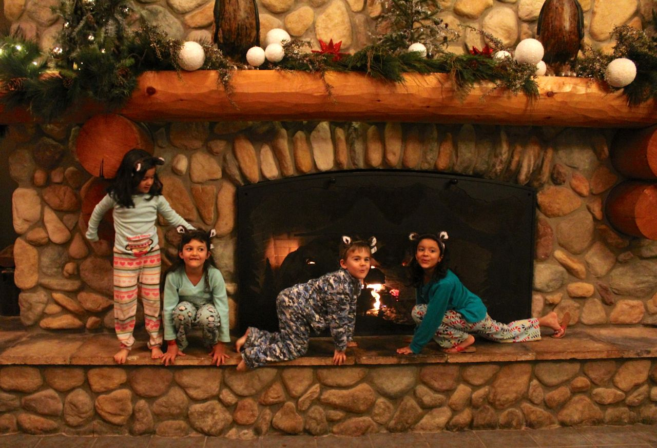 The 4 little wolves… howling in front of the fire...