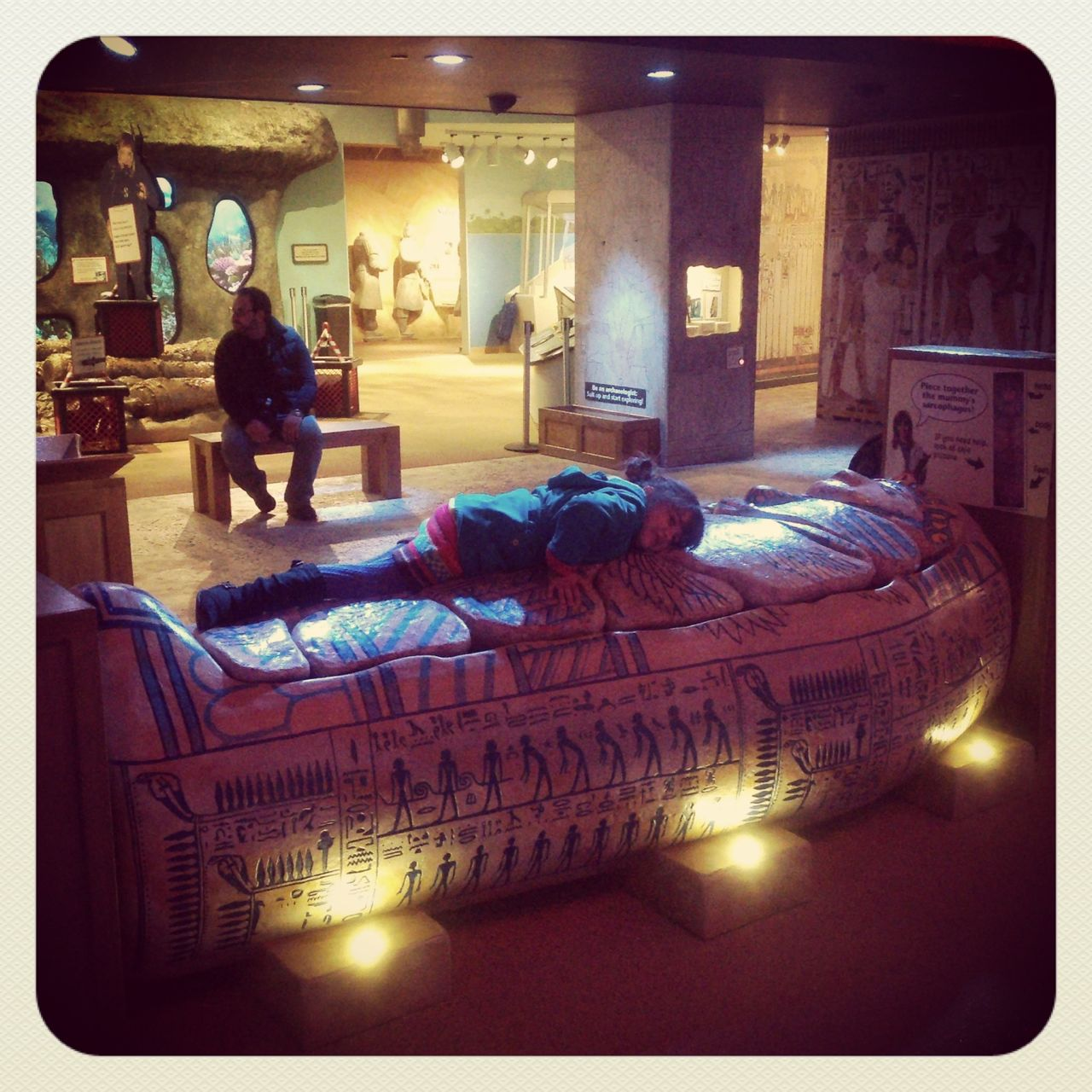 In the treasures & archeology section, there was a sarcophagus that was a puzzle...