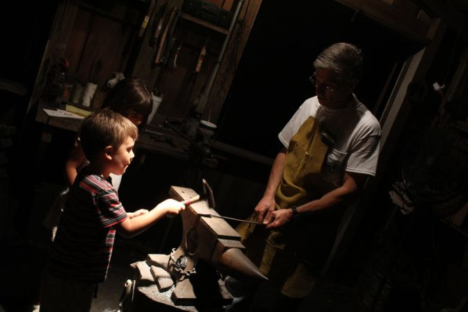 At the blacksmith...