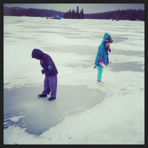 Walking on a frozen lake in the Adirondacks, New York...