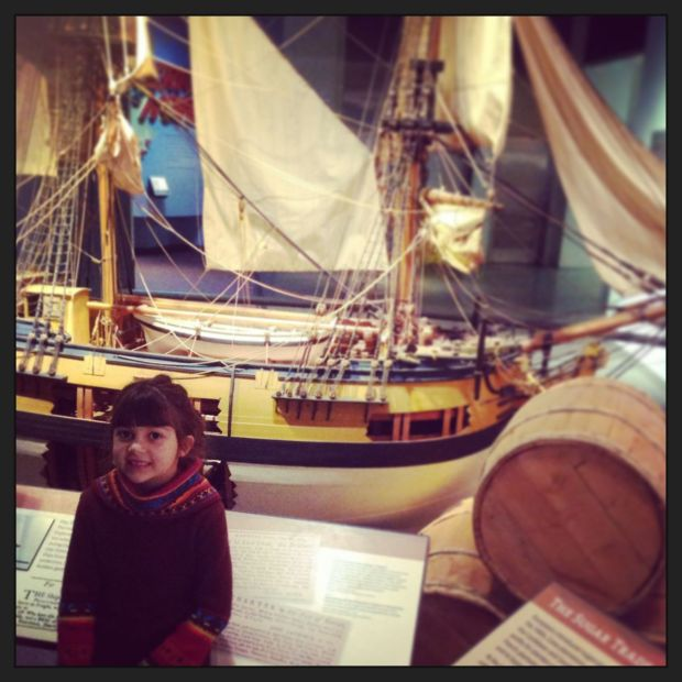 Learning about maritime history and tobacco ships… and slave ships… at the American History Museum...