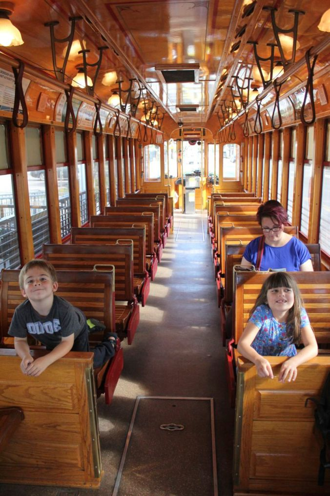 Enjoying the lovely, historical street cars in Tampa...