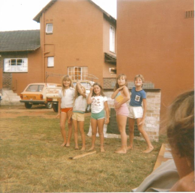 Soo and I (with cousin Clare and her stepsister Kathy and stepbrother Mark)… at The Plot.  We used to love climbing right on top of the roof of the house...