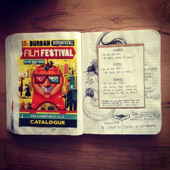 The front page of the Durban Film Festival booklet (I liked the design) and a little rant about systems...
