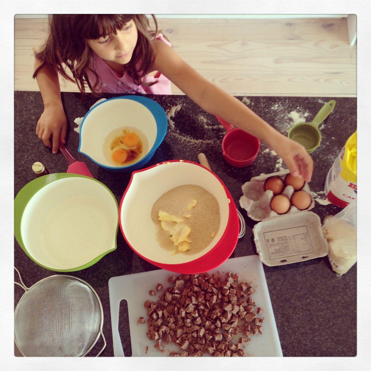 Baking choc chip cookies...