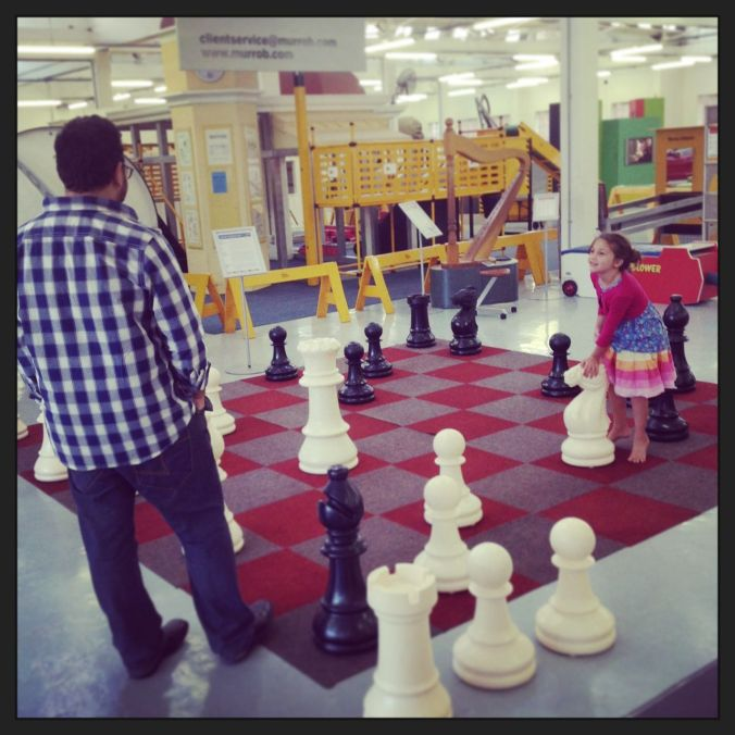 Nick giving Morgan some chess lessons at the Science Museum...