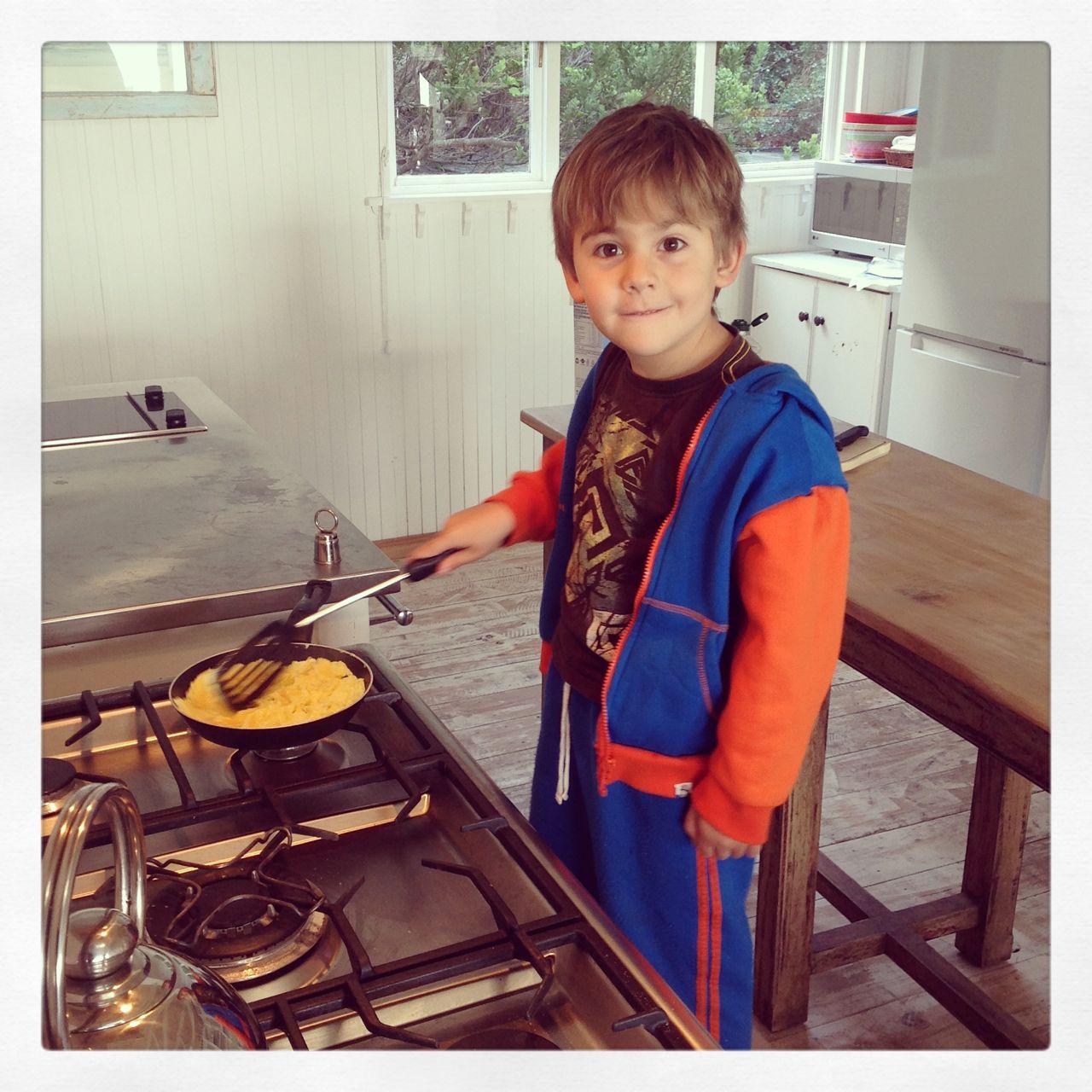 Joah - cooking his own breakfast...