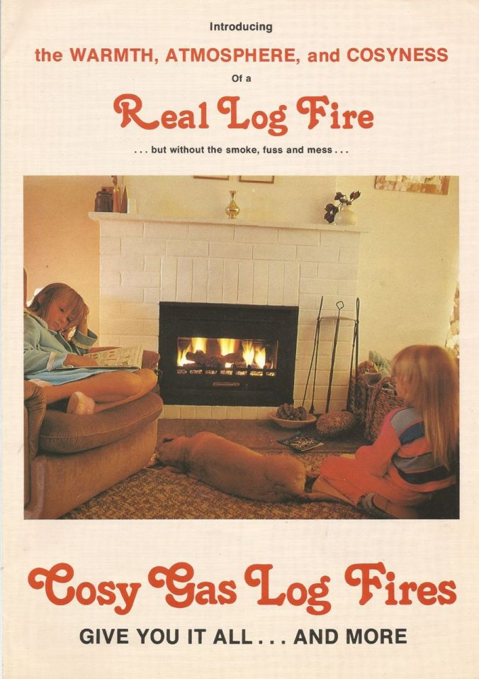 Dad's first successful business venture (after leaving Cape Town) was Cosy Gas Log Fires. He built and sold these fireplaces. This is the company brochure (I'm the one in the blue nightgown)...