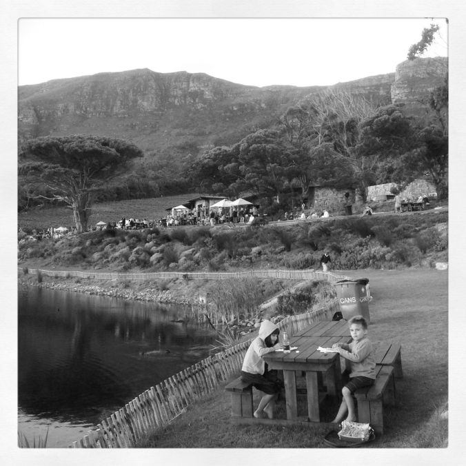 The Food Market at Cape Point Vineyards… (all the action is happening in the background)...