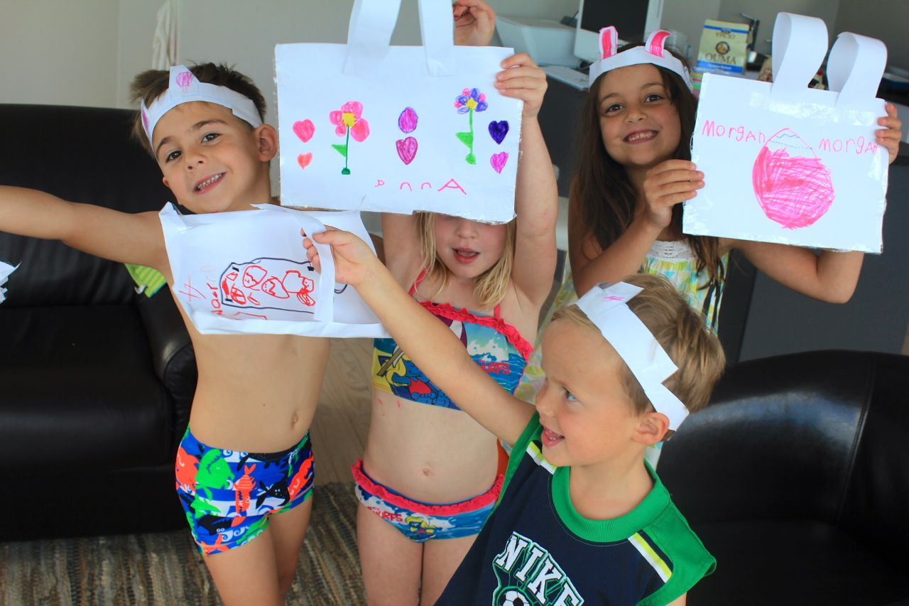 Joah, Morgan, Anna & Jonty… and all the Easter crafts, bags & hats they decided to make...