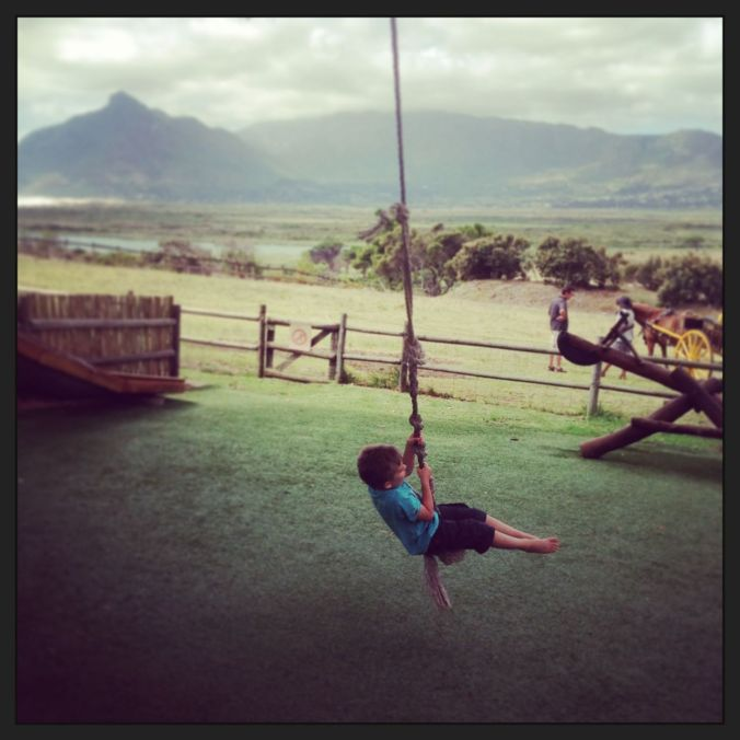 Bluewater Cafe at Imhoff Farm has an adventure treehouse with a tarzan-swing. The kids, of course, love it.