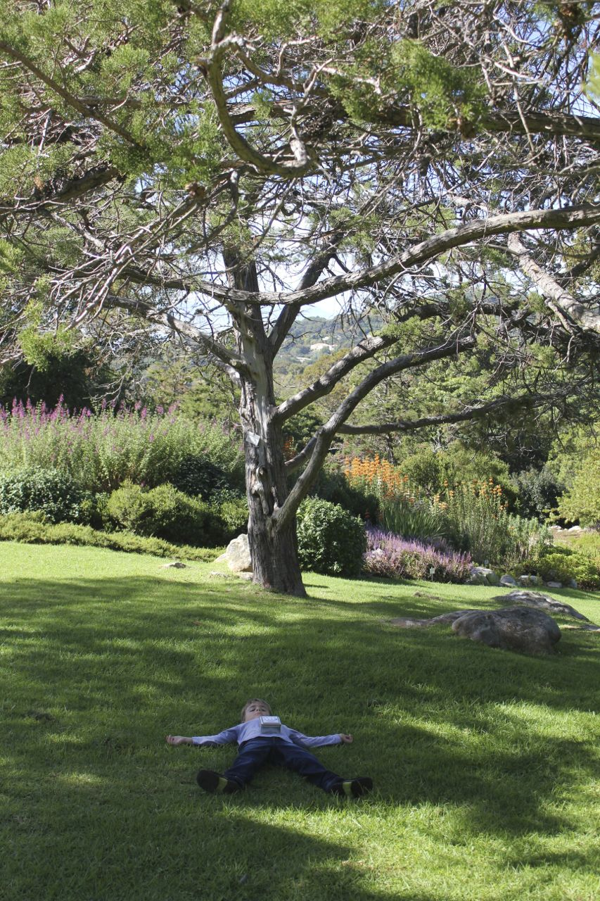 Joah playing dead in Kirstenbosch Gardens...