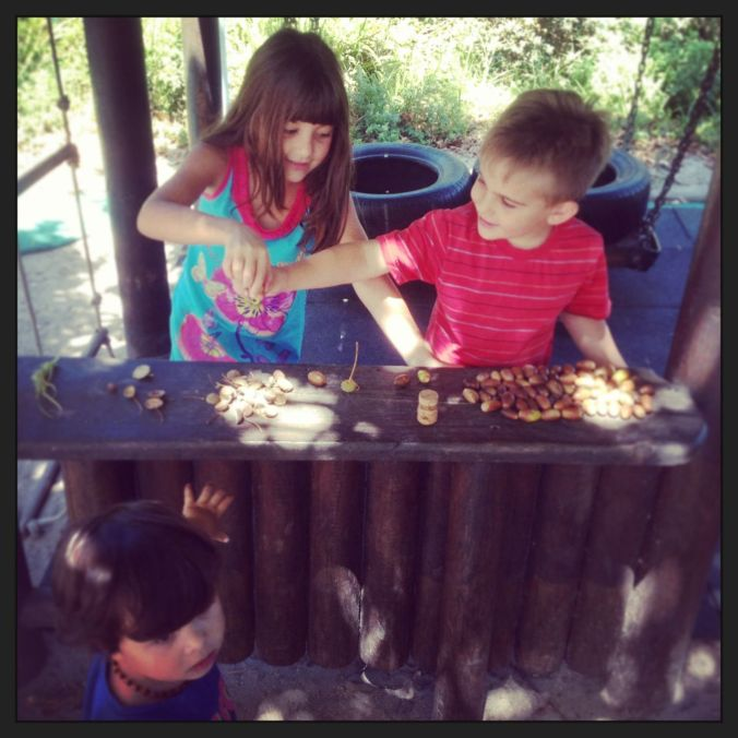 "Playing ""shop-shop"" (like true mini Greeks) with acorns and little playground friends..."