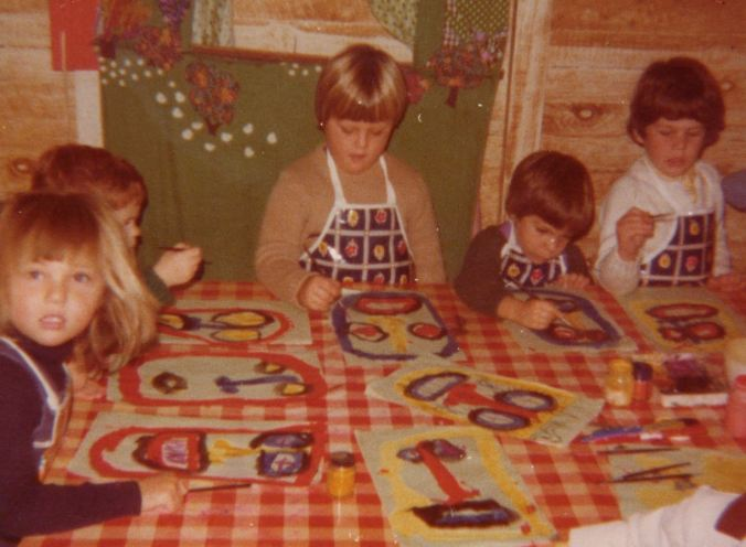 This is another Play-Group photo... all of us kids painting and creating (notice the deliberate absence of colouring-in books)...  (I'm on the left).