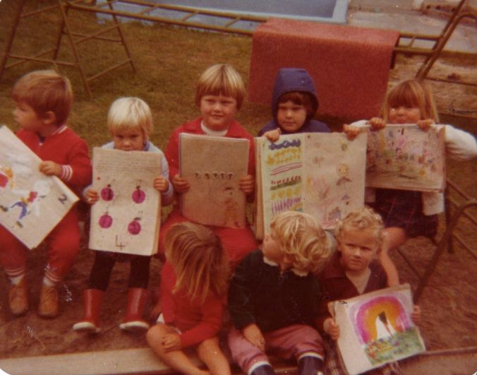 For a couple of years, Mom ran a Play-Group from our home. I loved it! - and I especially loved it when it was time to draw! (I'm the one on the far right)...