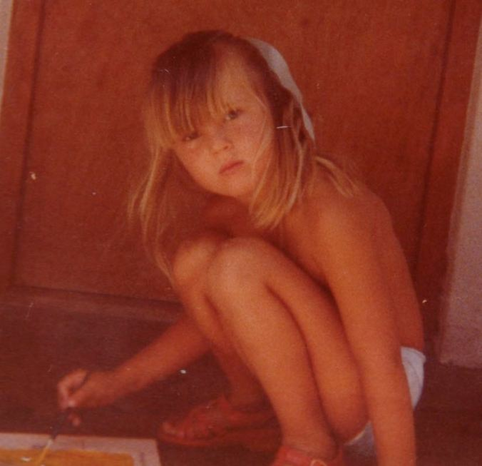 """One of the earliest photos of me creating art.  I love this photo.  It's very """"Hattish""""..."""
