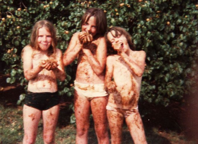 Rotten apricot fights!  (I'm the one in the middle)...