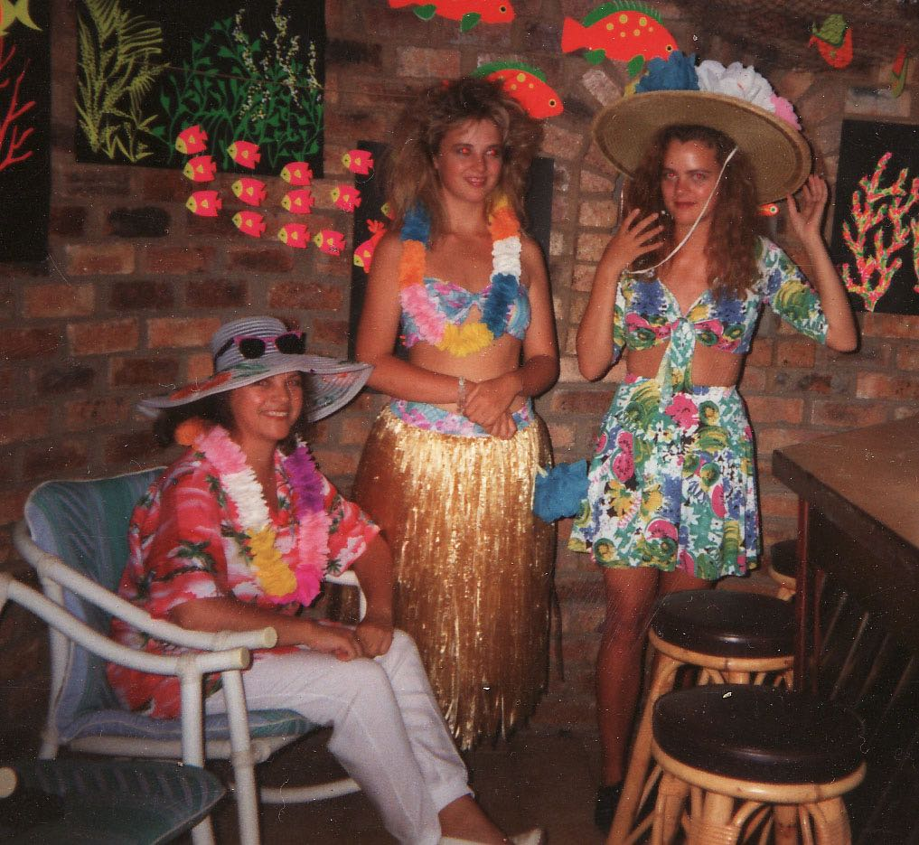 My 18th birthday party had a Hawaiian theme. My mom did an incredible job with that party (and sewed the outfits that my sister and I are both wearing)...