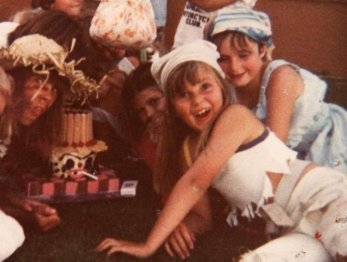My tramp-themed birthday party... (again - probably would be viewed as rather insensitive these days - but as a 9-year-old, I LOVED dressing in rags, getting filthy and smoking fake sweet cigarettes)...