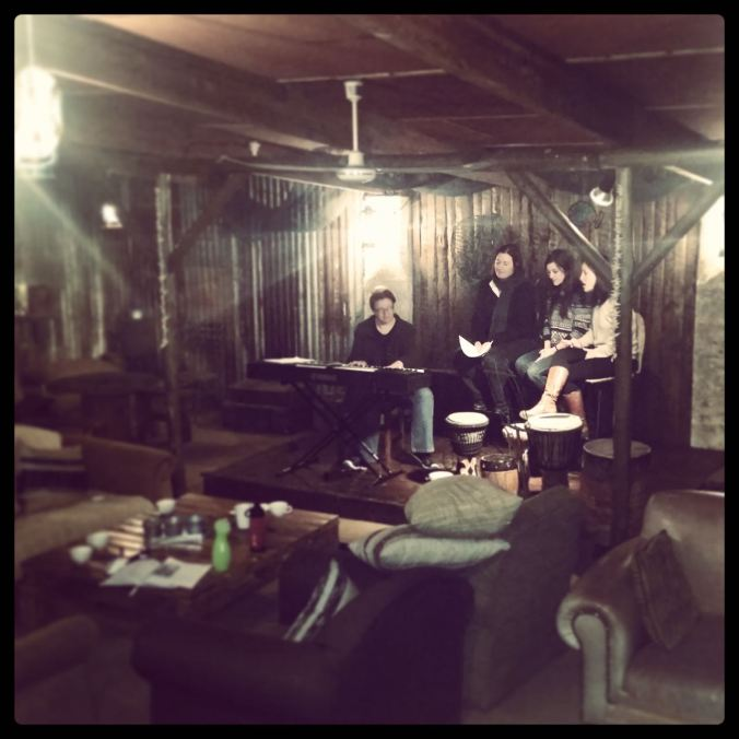 Rehearsing with my 3 fabulous vocalists:  Megan, Christie & Candace... lovely peeps!