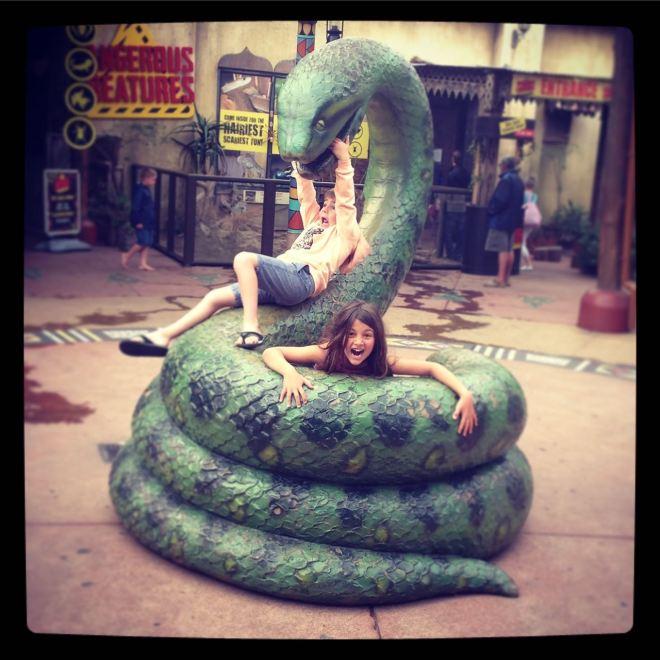 My kids and the big snake at uShaka Marine World...